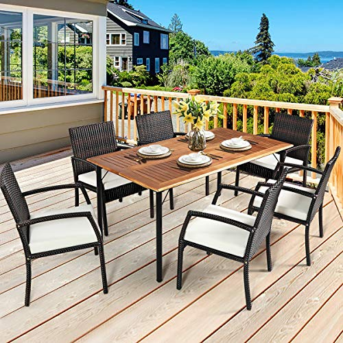 HAPPYGRILL 7PCS Patio Dining Furniture Set Outdoor Rattan Wicker Dining Set With Umbrella Hole Powder Coated Steel Frame Acacia Wood Dining Table And Armchairs With Removable Cushions 0 2