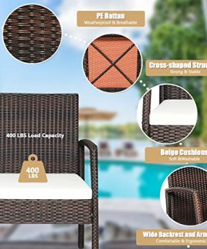 HAPPYGRILL 7PCS Patio Dining Furniture Set Outdoor Rattan Wicker Dining Set With Umbrella Hole Powder Coated Steel Frame Acacia Wood Dining Table And Armchairs With Removable Cushions 0 3 300x360