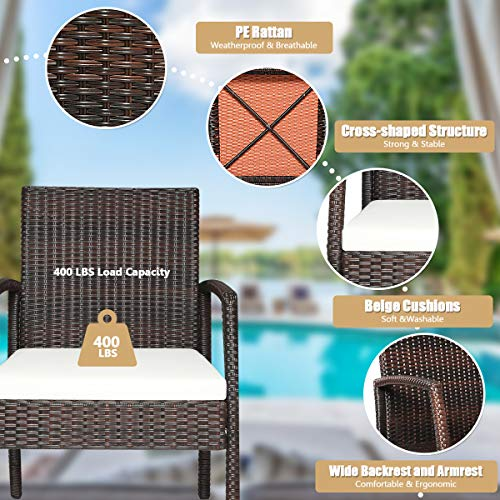 HAPPYGRILL 7PCS Patio Dining Furniture Set Outdoor Rattan Wicker Dining Set With Umbrella Hole Powder Coated Steel Frame Acacia Wood Dining Table And Armchairs With Removable Cushions 0 3