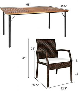 HAPPYGRILL 7PCS Patio Dining Furniture Set Outdoor Rattan Wicker Dining Set With Umbrella Hole Powder Coated Steel Frame Acacia Wood Dining Table And Armchairs With Removable Cushions 0 5 300x360