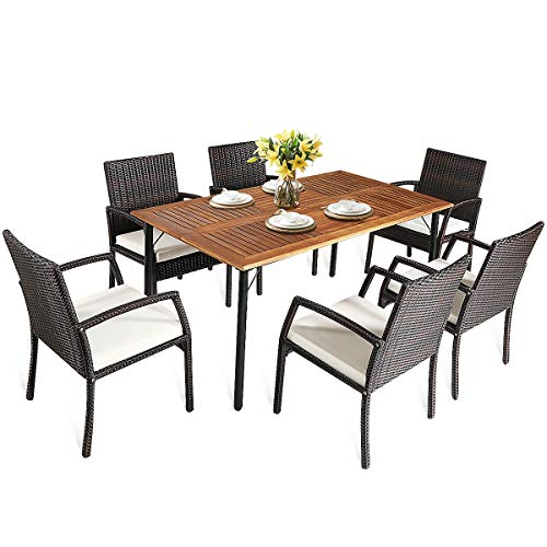 HAPPYGRILL 7PCS Patio Dining Furniture Set Outdoor Rattan Wicker Dining Set With Umbrella Hole Powder Coated Steel Frame Acacia Wood Dining Table And Armchairs With Removable Cushions 0