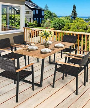 HAPPYGRILL 7PCS Patio Dining Set Outdoor Dining Furniture Set With Rectangle Table Wicker Chairs Acacia Wood Tabletop With Umbrella Hole Natural Design Conversation Set For Garden Backyard 0 0 300x360