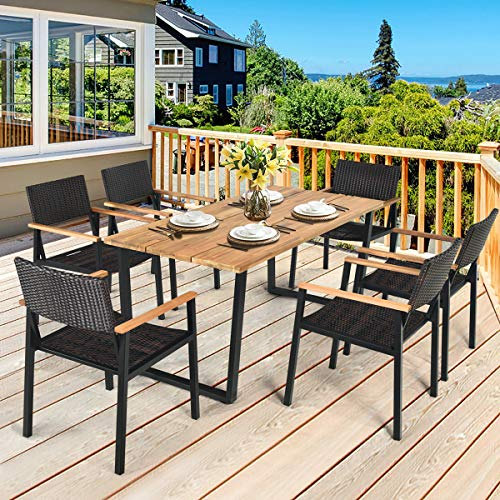 HAPPYGRILL 7PCS Patio Dining Set Outdoor Dining Furniture Set With Rectangle Table Wicker Chairs Acacia Wood Tabletop With Umbrella Hole Natural Design Conversation Set For Garden Backyard 0 0