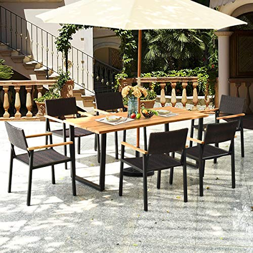 HAPPYGRILL 7PCS Patio Dining Set Outdoor Dining Furniture Set With Rectangle Table Wicker Chairs Acacia Wood Tabletop With Umbrella Hole Natural Design Conversation Set For Garden Backyard 0 1