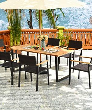 HAPPYGRILL 7PCS Patio Dining Set Outdoor Dining Furniture Set With Rectangle Table Wicker Chairs Acacia Wood Tabletop With Umbrella Hole Natural Design Conversation Set For Garden Backyard 0 2 300x360