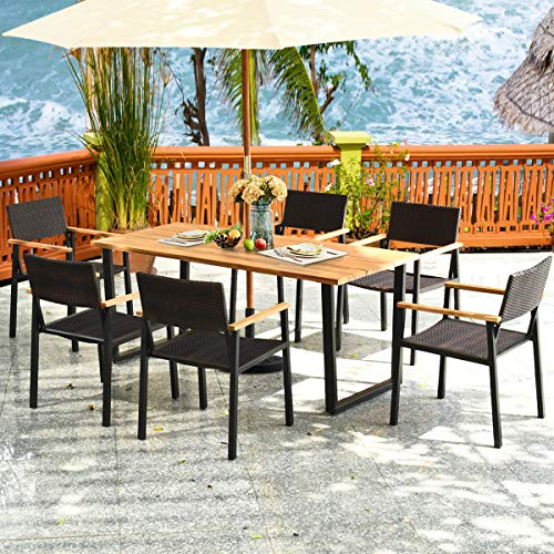 HAPPYGRILL 7PCS Patio Dining Set Outdoor Dining Furniture Set With Rectangle Table Wicker Chairs Acacia Wood Tabletop With Umbrella Hole Natural Design Conversation Set For Garden Backyard 0 2