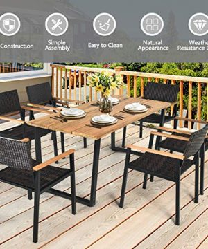HAPPYGRILL 7PCS Patio Dining Set Outdoor Dining Furniture Set With Rectangle Table Wicker Chairs Acacia Wood Tabletop With Umbrella Hole Natural Design Conversation Set For Garden Backyard 0 3 300x360