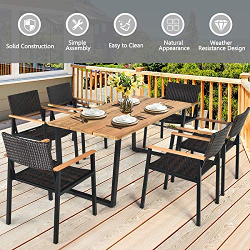 HAPPYGRILL 7PCS Patio Dining Set Outdoor Dining Furniture Set With Rectangle Table Wicker Chairs Acacia Wood Tabletop With Umbrella Hole Natural Design Conversation Set For Garden Backyard 0 3
