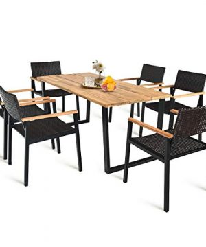 HAPPYGRILL 7PCS Patio Dining Set Outdoor Dining Furniture Set With Rectangle Table Wicker Chairs Acacia Wood Tabletop With Umbrella Hole Natural Design Conversation Set For Garden Backyard 0 300x360