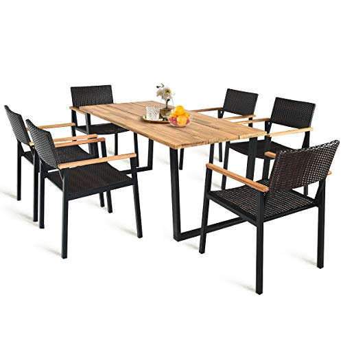 HAPPYGRILL 7PCS Patio Dining Set Outdoor Dining Furniture Set With Rectangle Table Wicker Chairs Acacia Wood Tabletop With Umbrella Hole Natural Design Conversation Set For Garden Backyard 0