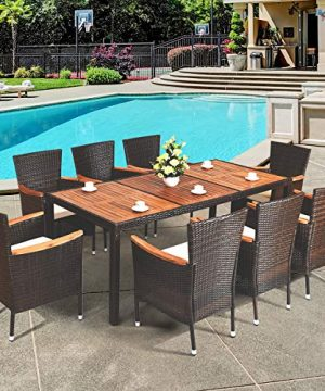 HAPPYGRILL 9 Piece Patio Dining Set Outdoor Rattan Wicker Dining Set With Cushions Garden Dining Set With Acacia Wood Table Top Armrest Poly Rattan Dining Table Chairs Set 0 0 300x360