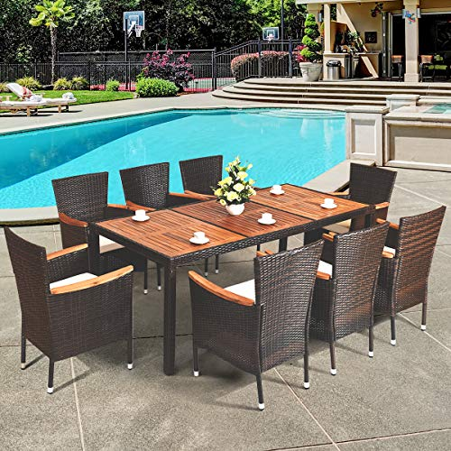 HAPPYGRILL 9 Piece Patio Dining Set Outdoor Rattan Wicker Dining Set With Cushions Garden Dining Set With Acacia Wood Table Top Armrest Poly Rattan Dining Table Chairs Set 0 0