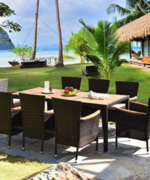 HAPPYGRILL 9 Piece Patio Dining Set Outdoor Rattan Wicker Dining Set With Cushions Garden Dining Set With Acacia Wood Table Top Armrest Poly Rattan Dining Table Chairs Set 0 1 300x360