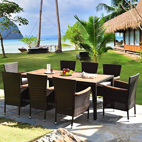 HAPPYGRILL 9 Piece Patio Dining Set Outdoor Rattan Wicker Dining Set With Cushions Garden Dining Set With Acacia Wood Table Top Armrest Poly Rattan Dining Table Chairs Set 0 1