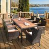 HAPPYGRILL 9 Piece Patio Dining Set Outdoor Rattan Wicker Dining Set With Cushions Garden Dining Set With Acacia Wood Table Top Armrest Poly Rattan Dining Table Chairs Set 0 100x100