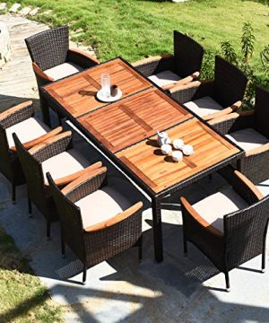 HAPPYGRILL 9 Piece Patio Dining Set Outdoor Rattan Wicker Dining Set With Cushions Garden Dining Set With Acacia Wood Table Top Armrest Poly Rattan Dining Table Chairs Set 0 2 300x360