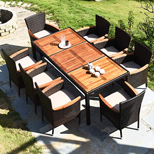 HAPPYGRILL 9 Piece Patio Dining Set Outdoor Rattan Wicker Dining Set With Cushions Garden Dining Set With Acacia Wood Table Top Armrest Poly Rattan Dining Table Chairs Set 0 2