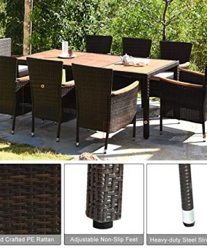 HAPPYGRILL 9 Piece Patio Dining Set Outdoor Rattan Wicker Dining Set With Cushions Garden Dining Set With Acacia Wood Table Top Armrest Poly Rattan Dining Table Chairs Set 0 3 300x360