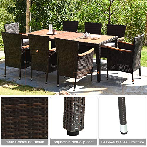 HAPPYGRILL 9 Piece Patio Dining Set Outdoor Rattan Wicker Dining Set With Cushions Garden Dining Set With Acacia Wood Table Top Armrest Poly Rattan Dining Table Chairs Set 0 3