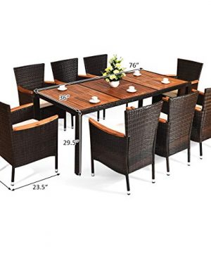 HAPPYGRILL 9 Piece Patio Dining Set Outdoor Rattan Wicker Dining Set With Cushions Garden Dining Set With Acacia Wood Table Top Armrest Poly Rattan Dining Table Chairs Set 0 5 300x360