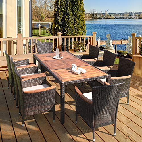 HAPPYGRILL 9 Piece Patio Dining Set Outdoor Rattan Wicker Dining Set With Cushions Garden Dining Set With Acacia Wood Table Top Armrest Poly Rattan Dining Table Chairs Set 0