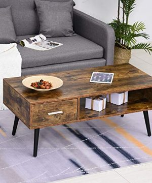 HOMCOM Mid Century Modern Wood Coffee Table Side Desk And 1 Drawer And 1 Open Storage Shelf For Living Room Wood 0 0 300x360
