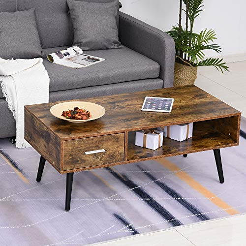 HOMCOM Mid Century Modern Wood Coffee Table Side Desk And 1 Drawer And 1 Open Storage Shelf For Living Room Wood 0 0
