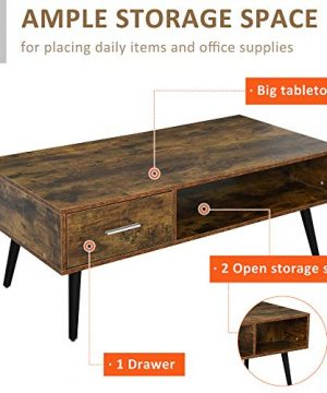 HOMCOM Mid Century Modern Wood Coffee Table Side Desk And 1 Drawer And 1 Open Storage Shelf For Living Room Wood 0 2 300x360