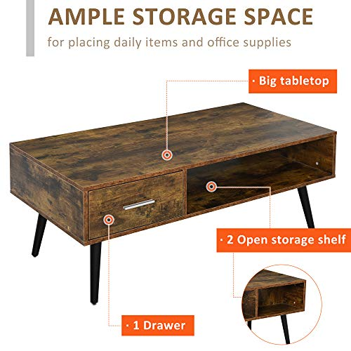 HOMCOM Mid Century Modern Wood Coffee Table Side Desk And 1 Drawer And 1 Open Storage Shelf For Living Room Wood 0 2