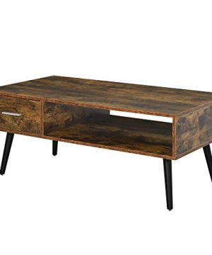 HOMCOM Mid Century Modern Wood Coffee Table Side Desk And 1 Drawer And 1 Open Storage Shelf For Living Room Wood 0 300x360
