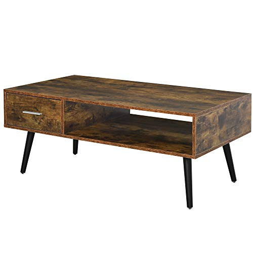 HOMCOM Mid Century Modern Wood Coffee Table Side Desk And 1 Drawer And 1 Open Storage Shelf For Living Room Wood 0