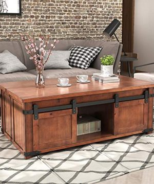 Henf Coffee Table With Sliding Barn Doors Rustic Industrial Sofa Side Coffee Table With Storage Shelf And Cabinets For Living Room Cocktail Center End Table Home Furniture Brown 0 300x360