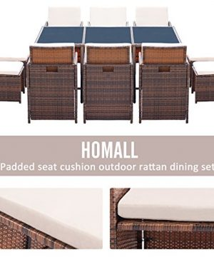 Homall 11 Pieces Patio Furniture Dining Set Patio Wicker Rattan Chair Sets Outdoor Furniture Cushioned Tempered Glass WOttoman Brown PE Rattan 0 1 300x360