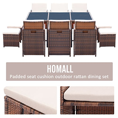 Homall 11 Pieces Patio Furniture Dining Set Patio Wicker Rattan Chair Sets Outdoor Furniture Cushioned Tempered Glass WOttoman Brown PE Rattan 0 1