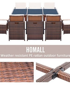 Homall 11 Pieces Patio Furniture Dining Set Patio Wicker Rattan Chair Sets Outdoor Furniture Cushioned Tempered Glass WOttoman Brown PE Rattan 0 2 300x360
