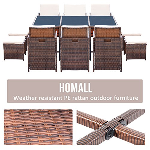 Homall 11 Pieces Patio Furniture Dining Set Patio Wicker Rattan Chair Sets Outdoor Furniture Cushioned Tempered Glass WOttoman Brown PE Rattan 0 2
