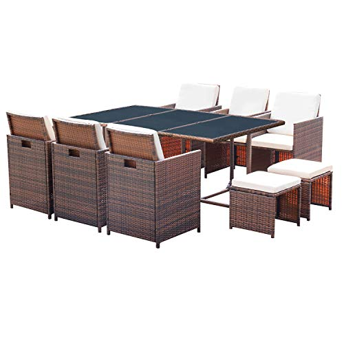 Homall 11 Pieces Patio Furniture Dining Set Patio Wicker Rattan Chair Sets Outdoor Furniture Cushioned Tempered Glass WOttoman Brown PE Rattan 0