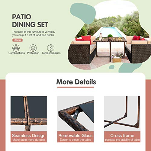 JUMMICO 5 Piece Patio Dining Sets Wicker Rattan Patio Furniture Set Outdoor Sectional Sofa With Tempered Glass Table Patio Conversation Sets For Garden Courtyard Poolside Beige 0 1