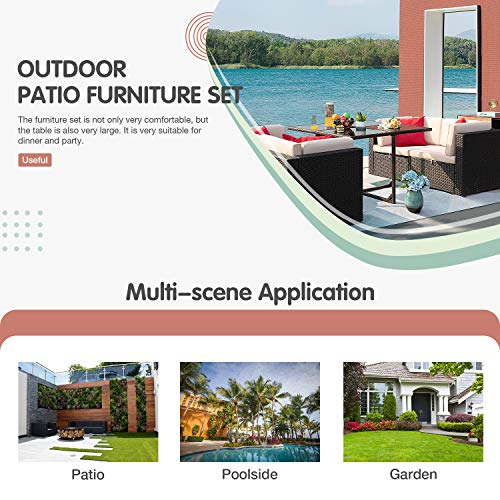 JUMMICO 5 Piece Patio Dining Sets Wicker Rattan Patio Furniture Set Outdoor Sectional Sofa With Tempered Glass Table Patio Conversation Sets For Garden Courtyard Poolside Beige 0 3