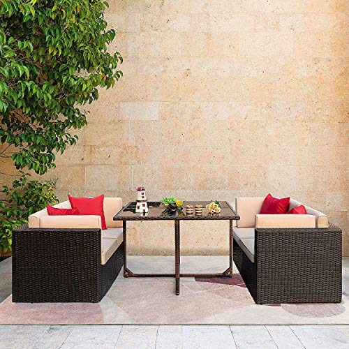 JUMMICO 5 Piece Patio Dining Sets Wicker Rattan Patio Furniture Set Outdoor Sectional Sofa With Tempered Glass Table Patio Conversation Sets For Garden Courtyard Poolside Beige 0