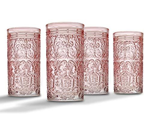 Jax Highball Beverage Glass Cup By Godinger Pink Set Of 4 0