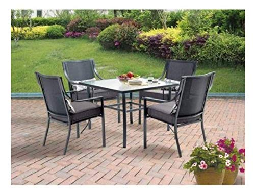 Mainstays Alexandra Square 5 Piece Patio Dining Set Grey With Leaves Seats 4 0 0