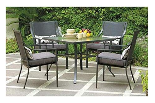 Mainstays Alexandra Square 5 Piece Patio Dining Set Grey With Leaves Seats 4 0