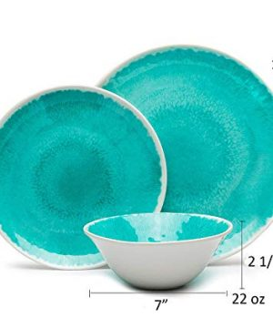 Melamine 12 Piece Dinnerware Set Dishes Set Suitable Indoors And Outdoors Service For 4Lightweight Turquoise 0 0 300x360