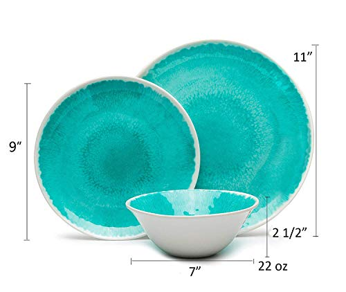 Melamine 12 Piece Dinnerware Set Dishes Set Suitable Indoors And Outdoors Service For 4Lightweight Turquoise 0 0