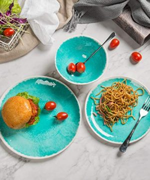 Melamine 12 Piece Dinnerware Set Dishes Set Suitable Indoors And Outdoors Service For 4Lightweight Turquoise 0 1 300x360