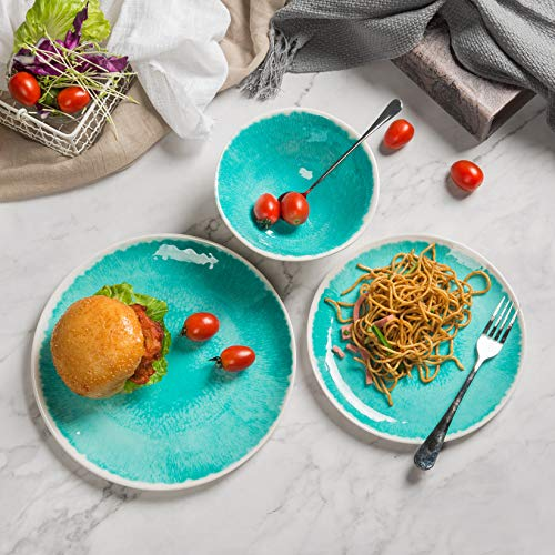 Melamine 12 Piece Dinnerware Set Dishes Set Suitable Indoors And Outdoors Service For 4Lightweight Turquoise 0 1