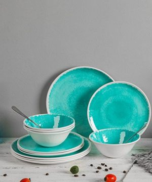 Melamine 12 Piece Dinnerware Set Dishes Set Suitable Indoors And Outdoors Service For 4Lightweight Turquoise 0 2 300x360