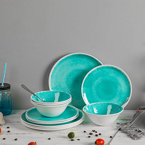 Melamine 12 Piece Dinnerware Set Dishes Set Suitable Indoors And Outdoors Service For 4Lightweight Turquoise 0 2