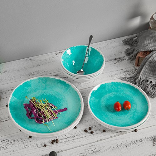Melamine 12 Piece Dinnerware Set Dishes Set Suitable Indoors And Outdoors Service For 4Lightweight Turquoise 0 3